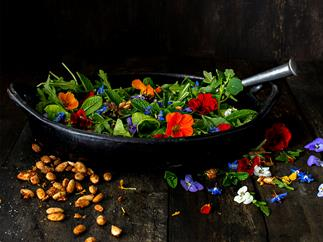 Leafy salad with spiced almonds & frida flowers