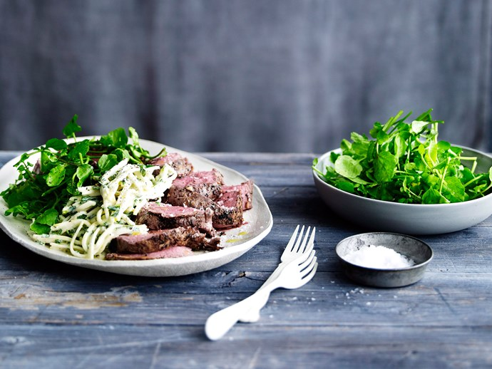 "[Garlic herbed beef with kohlrabi remoulade & watercress](https://www.foodtolove.co.nz/recipes/garlic-herbed-beef-with-kohlrabi-remoulade-and-watercress-32083|target=""_blank"")"