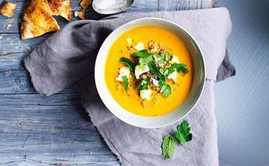 Carrot soup with feta & quinoa