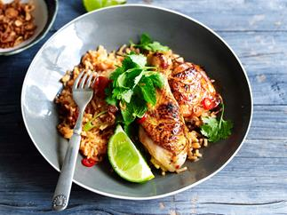 Grilled lemongrass chicken with tomato rice