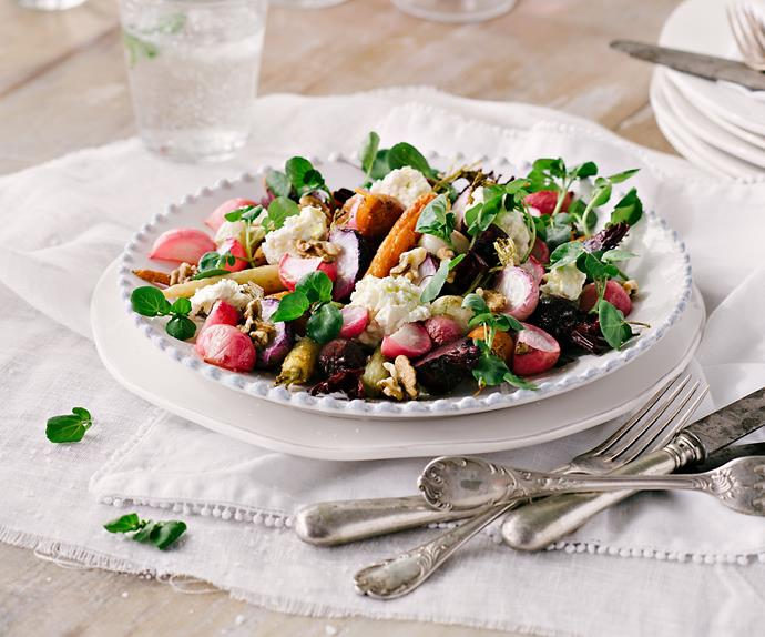 Salad of roasted baby root vegetables and walnuts