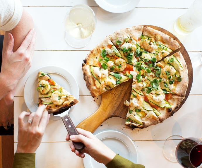 Prawn, chilli and courgette pizza with anchovy dressing