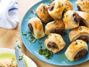 Chicken, mushroom & thyme sausage rolls