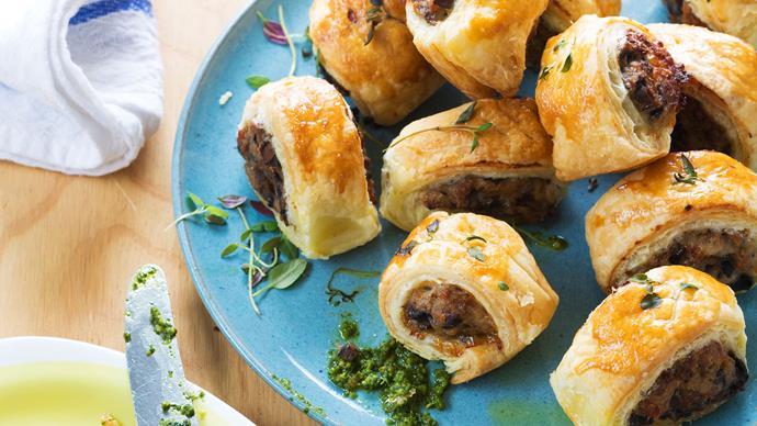 Chicken, mushroom and thyme sausage rolls recipe