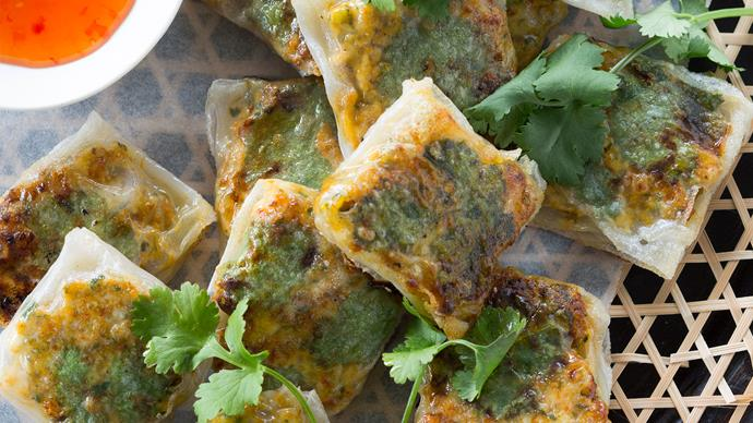 Crisp chicken and herb rice-paper parcels recipe