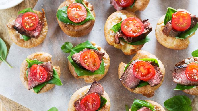Mini Yorkshire puddings with beef, basil and tomato recipe