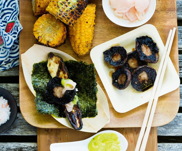 Grilled vegetables with wasabi mayo recipe
