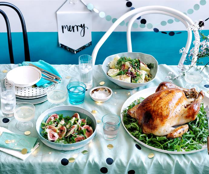 Roast turkey with pistachio rosemary stuffing and fig salad recipe
