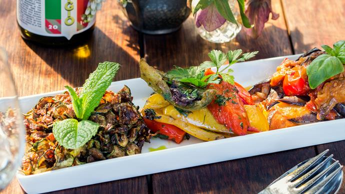 Eggplant with cherry tomatoes, black olives & capers recipe