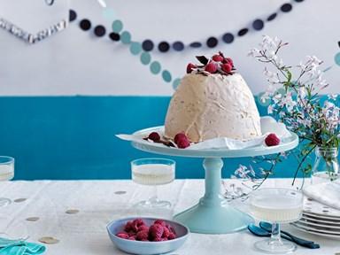 Coconut, chocolate & raspberry ice cream bombe