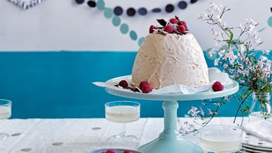 Coconut, chocolate & raspberry ice cream bombe
