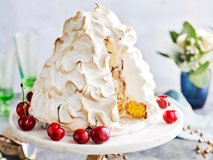 "Sweeten up the festive season with this decadent [chocolate cherry bombe alaska](https://www.womensweeklyfood.com.au/recipes/chocolate-and-cherry-bombe-alaska-29552|target=""_blank"")! The perfect dessert to share with family or friends."