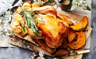 Roast turkey with bacon, onion and sage stuffing