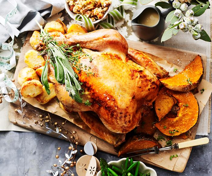Roast turkey with bacon, onion and sage dressing