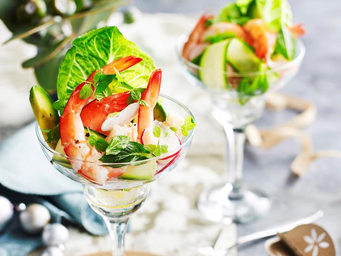 "**Prawn, zucchini and mint salad** <br><br> Warm summer afternoons call for this delicious prawn, zucchini and mint salad - light, fresh, and perfect for the festive season! <br><br> [**Read the full recipe here**](https://www.womensweeklyfood.com.au/recipes/prawn-zucchini-and-mint-salad-29554|target=""_blank"")"