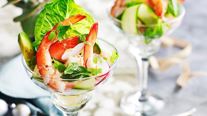 Prawn, zucchini and mint salad
