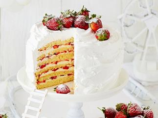 Strawberry and passionfruit mile-high layer cake