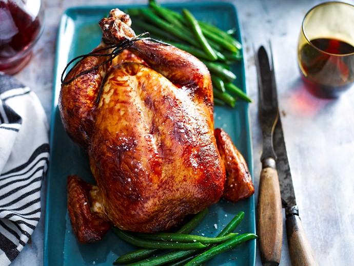 "[Classic roast chicken with gravy.](http://www.foodtolove.com.au/recipes/classic-roast-chicken-with-gravy-14398|target=""_blank"")"