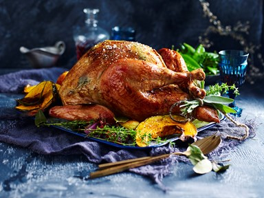 Herbed butter roast turkey with prosciutto and pear stuffing