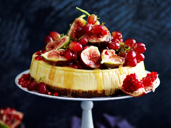 "**Fruit cake and eggnog cheesecake** <br><br> With a fruitcake base, creamy cheesecake filling and fruit topping drizzled with toffee, this Christmas dessert is a wonderfully decadent treat. <br><br> [**Read the full recipe here**](https://www.womensweeklyfood.com.au/recipes/fruit-cake-and-eggnog-cheesecake-7427|target=""_blank"")"