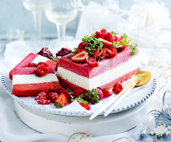 raspberry, yogurt and strawberry terrine with berry and mint salad