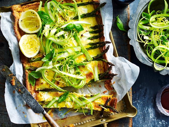 "**Asparagus and goats' cheese tart** <br><br> Indulge in this deliciously crisp, cheesy and tender asparagus and goat's cheese tart. <br><br> [**Read the full recipe here**](https://www.womensweeklyfood.com.au/recipes/asparagus-and-goats-cheese-tart-29561|target=""_blank"")"