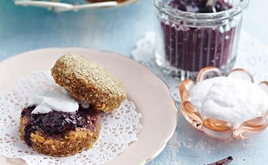 Fig and date scones with blueberry chia jam and coconut cream