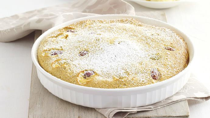 Chia clafoutis with grapes