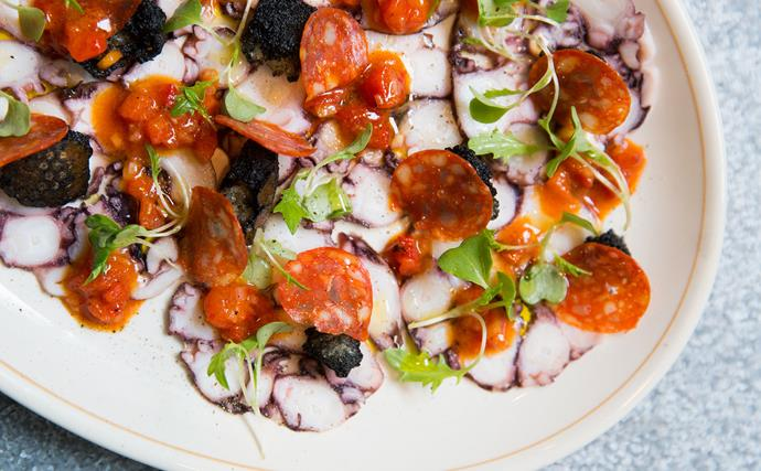 Grilled octopus with chorizo and red capsicum vinaigrette