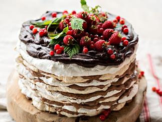 Hazelnut meringue layer cake