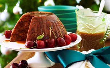 Julie Goodwin's last-minute Christmas pudding with caramel brandy sauce