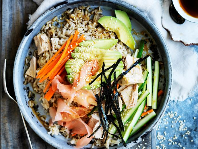 "**[Tuna salad sushi bowl](https://www.womensweeklyfood.com.au/recipes/tuna-salad-sushi-bowl-29578|target=""_blank"")**  Love sushi but hate the roll? Save time tonight with this quick and delicious tuna salad sushi bowl!"