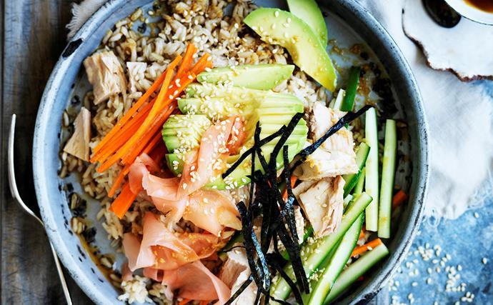 Tuna salad sushi bowl