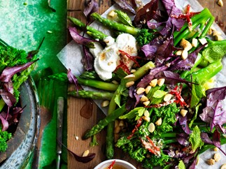 Broccolini, asparagus and miso chicken salad