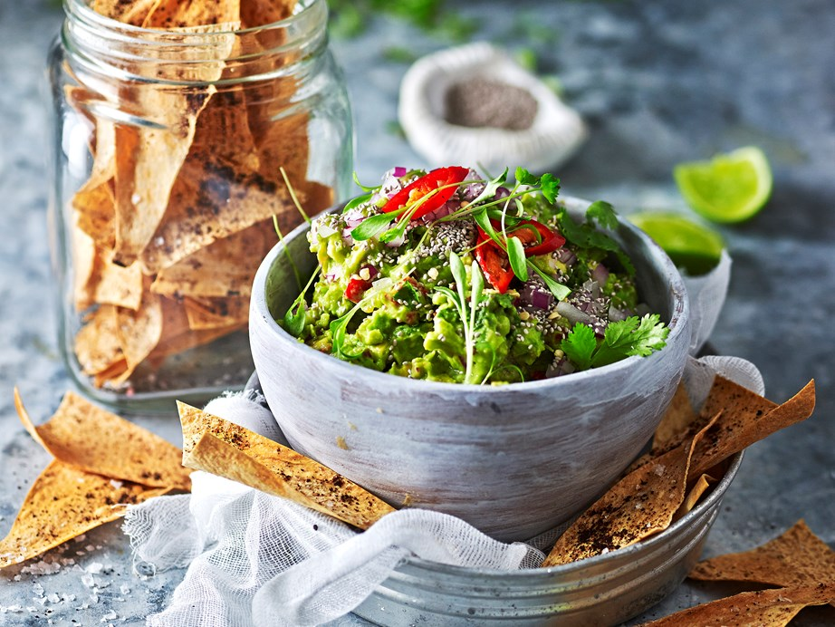 "For a snack or lazy dinner, our **[chia and tomato guacamole with sumac crisps](https://www.womensweeklyfood.com.au/recipes/chia-and-tomato-guacamole-with-sumac-crisps-29589|target=""_blank"")** are an anytime food."