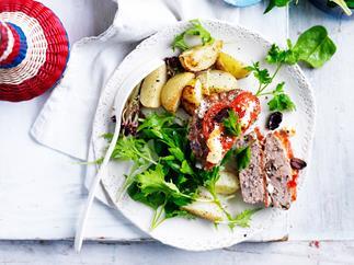 Feta and olive greek meatloaves