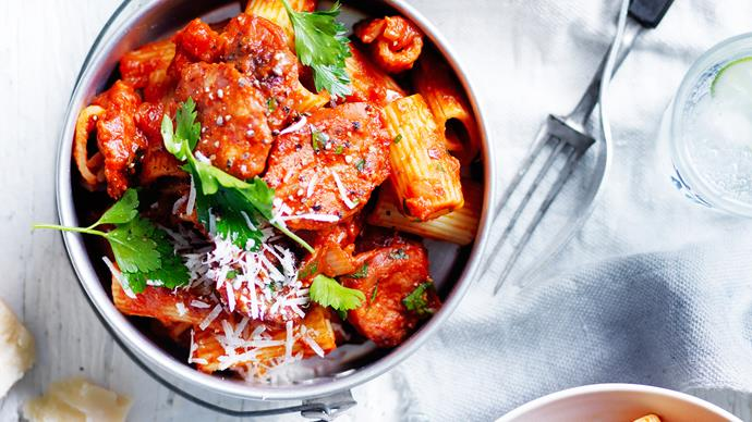 Rigatoni with arrabbiata and  chorizo sauce