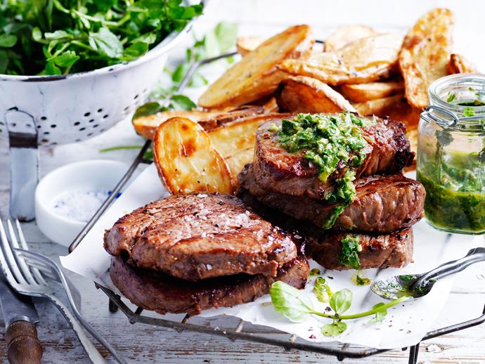 """Put simply, this **[steak and spuds recipe with homemade salsa verde](https://www.womensweeklyfood.com.au/recipes/steak-and-spuds-with-salsa-verde-29596