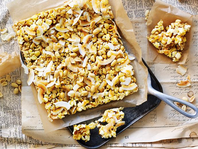 """**[Salted popcorn and nut slice](https://www.womensweeklyfood.com.au/recipes/salted-popcorn-and-nut-slice-29600