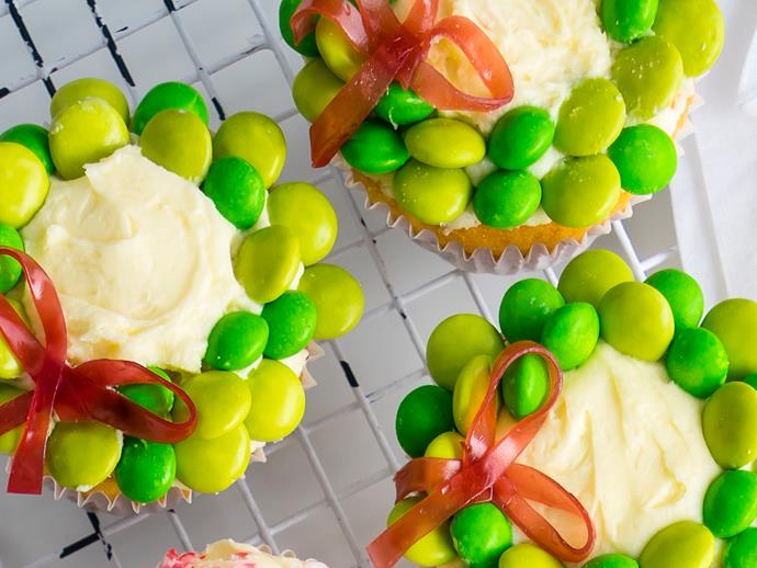 """[**Christmas wreath cupcakes**](http://www.foodtolove.com.au/recipes/christmas-wreath-cupcakes-31125
