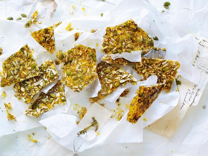 "**[Super seed brittle](https://www.womensweeklyfood.com.au/recipes/super-seed-brittle-1-29608|target=""_blank"")**  This deliciously crunchy snack is packed full of healthy, whole seeds to give you sustainable energy to stay fueled for the day ahead. They're also nut-free, so they make a great homemade treat for the kids' lunchbox."