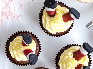 Upside-down Santa cupcakes