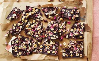 Sugar-free chocolate cherry hazelnut bark
