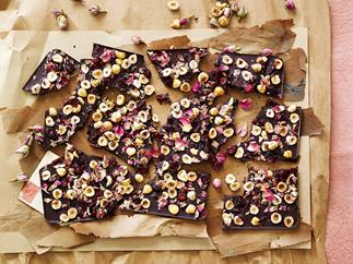 Sugar-free chocolate cherry hazelnut bark