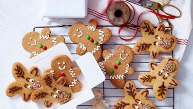 Reindeer and gingerbread men Christmas cookies