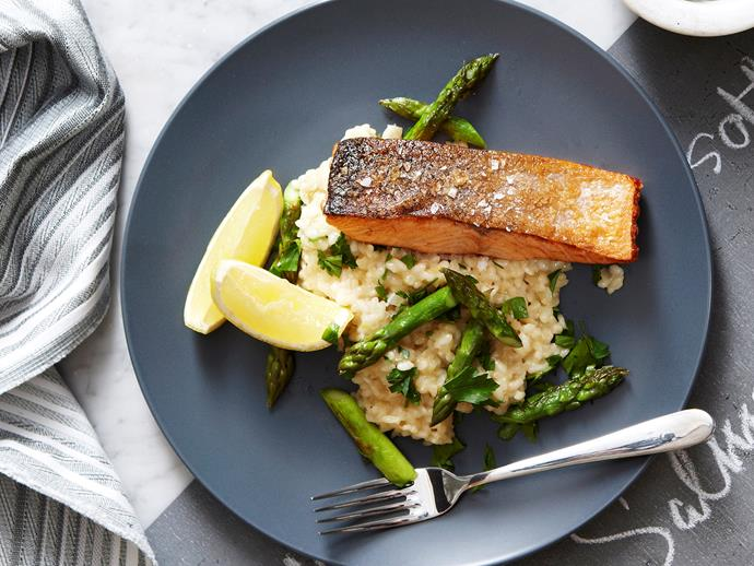 "This beautiful [asparagus and lemon risotto](https://www.womensweeklyfood.com.au/recipes/asparagus-and-lemon-risotto-with-crispy-salmon-25844|target=""_blank"") is simmered in white wine and garlic to create the creamiest, most flavoursome rice dish. Served with a piece of crispy-skin salmon, this makes a perfect dinner."