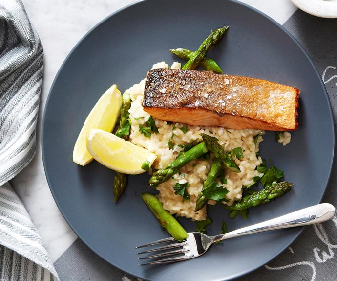 Asparagus and lemon risotto with crispy salmon
