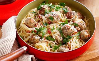 Chicken, minted pea and ricotta meatballs pasta