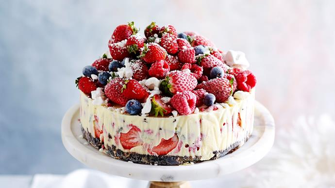 Frozen Christmas ice-cream cake