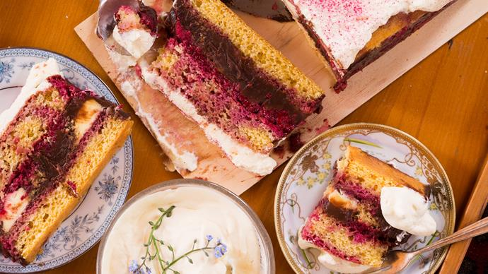Berry & chocolate trifle cake